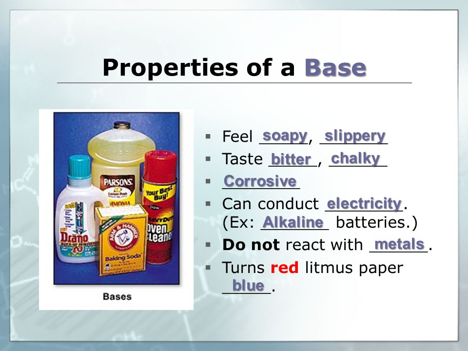 Base Properties of a Base  Feel _____, _______  Taste _____, ______  ________  Can conduct ________.