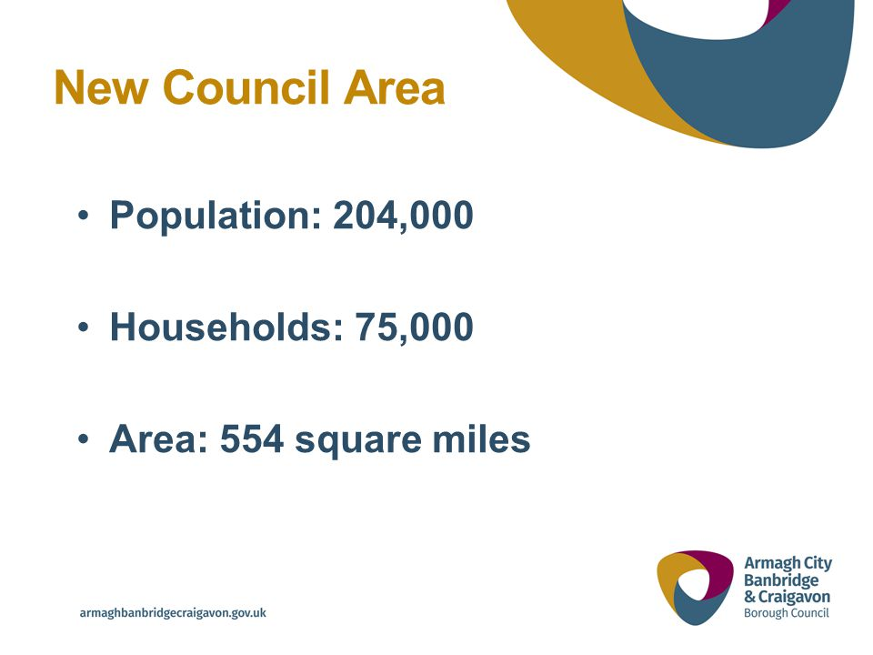 Population: 204,000 Households: 75,000 Area: 554 square miles New Council Area