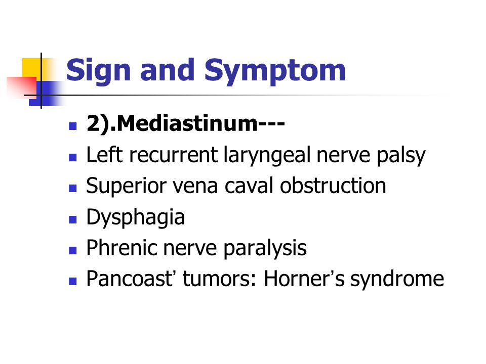 Sign and Symptom 2.Spread and Invasion: 2.Spread and Invasion: 1).Pleura---effusion, pleuritic pain and chest wall pain.