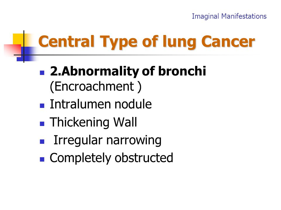 Central Type of lung Cancer Chest film + CT scans The Direct Signs 1.Hilar mass: Unilateral hilar enlargement Increased density of hilum tumor mass and lymph nodes Imaginal Manifestations