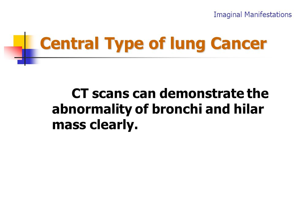 Central Type of lung Cancer 2.Abnormality of bronchi (Encroachment ) Intralumen nodule Thickening Wall Irregular narrowing Completely obstructed Imaginal Manifestations