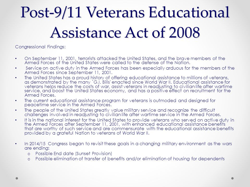 Image result for Post-9/11 Veterans Educational Assistance Act of 2008