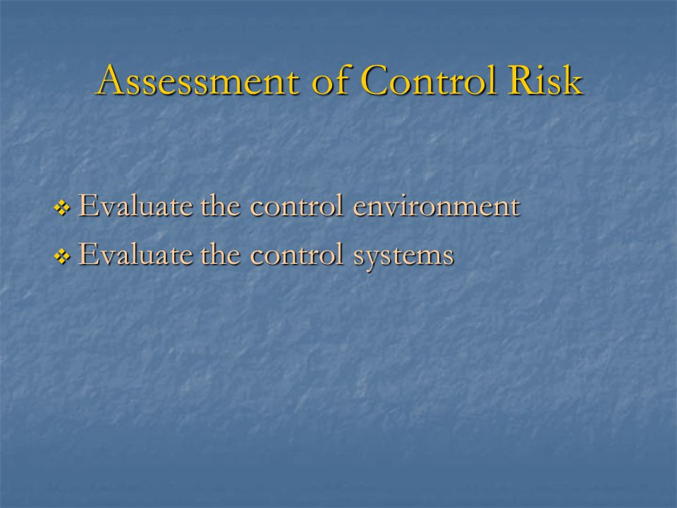 Assessment of Control Risk  Evaluate the control environment  Evaluate the control systems