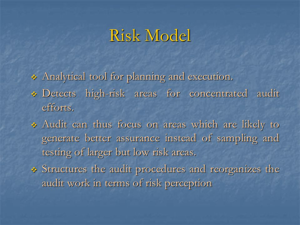 Risk Model  Analytical tool for planning and execution.