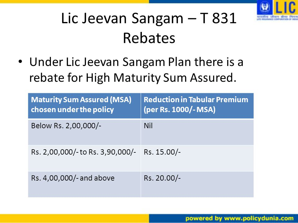 Lic Jeevan Sangam – T 831 Rebates Under Lic Jeevan Sangam Plan there is a rebate for High Maturity Sum Assured.