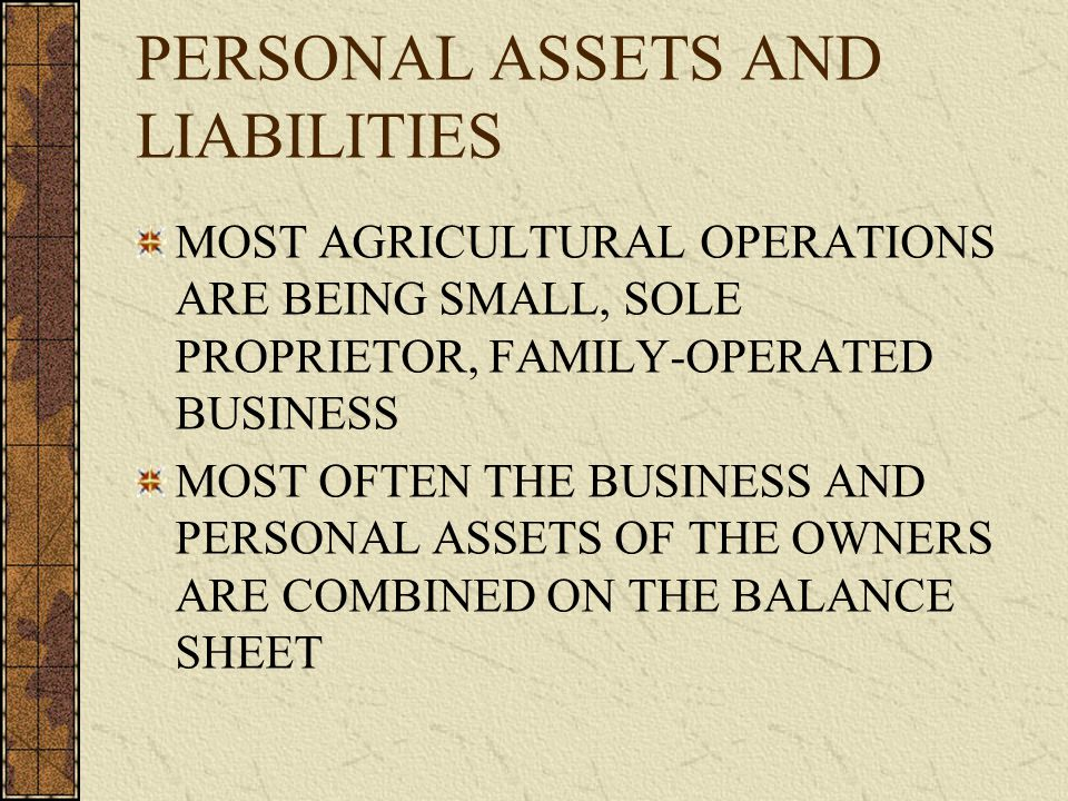 PERSONAL ASSETS AND LIABILITIES MOST AGRICULTURAL OPERATIONS ARE BEING SMALL, SOLE PROPRIETOR, FAMILY-OPERATED BUSINESS MOST OFTEN THE BUSINESS AND PERSONAL ASSETS OF THE OWNERS ARE COMBINED ON THE BALANCE SHEET
