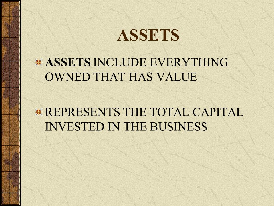 ASSETS ASSETS INCLUDE EVERYTHING OWNED THAT HAS VALUE REPRESENTS THE TOTAL CAPITAL INVESTED IN THE BUSINESS