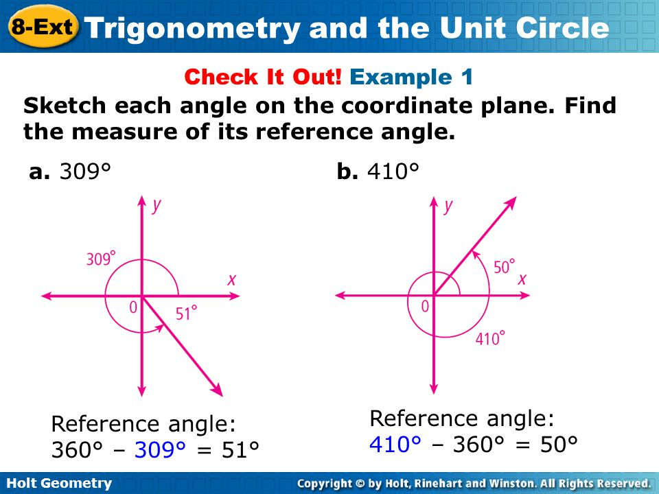 Holt Geometry 8ext Trigonometry And The Unit Circle. Worksheet. Worksheet More Reference Angles At Clickcart.co