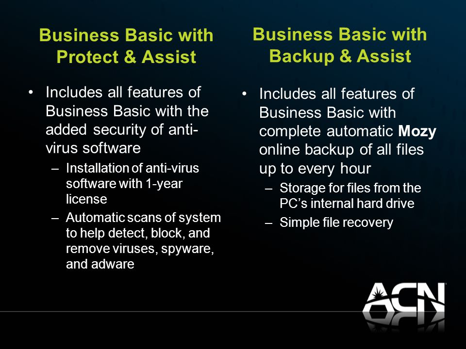 Business Basic with Protect & Assist Includes all features of Business Basic with the added security of anti- virus software –Installation of anti-virus software with 1-year license –Automatic scans of system to help detect, block, and remove viruses, spyware, and adware Business Basic with Backup & Assist Includes all features of Business Basic with complete automatic Mozy online backup of all files up to every hour –Storage for files from the PC's internal hard drive –Simple file recovery