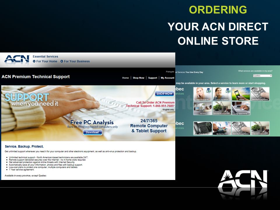 ORDERING YOUR ACN DIRECT ONLINE STORE