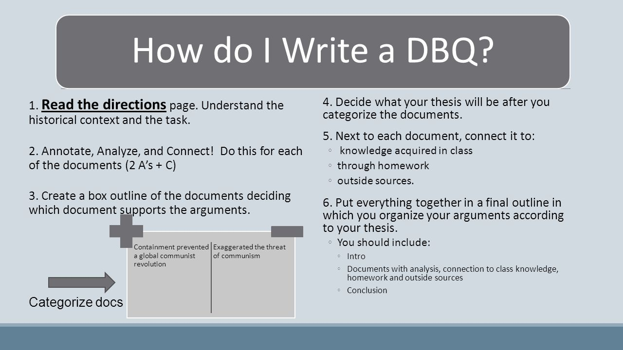 How do I Write a DBQ. 1. Read the directions page.