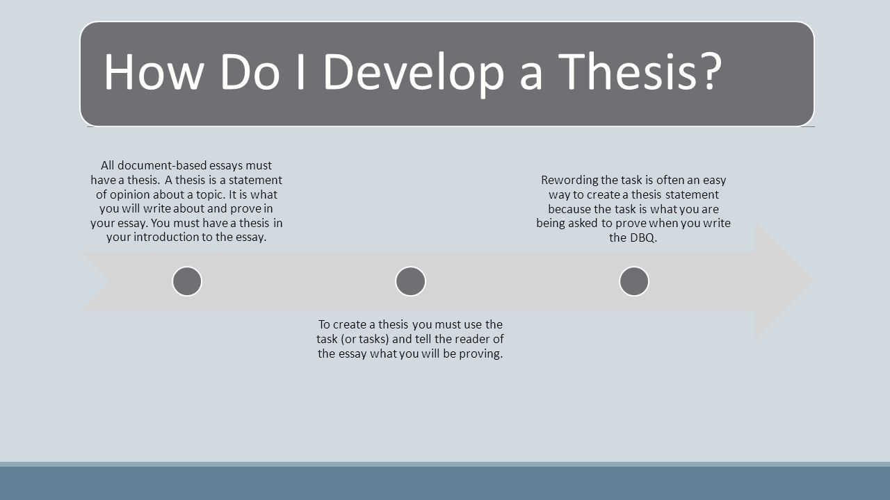 How Do I Develop a Thesis. All document-based essays must have a thesis.