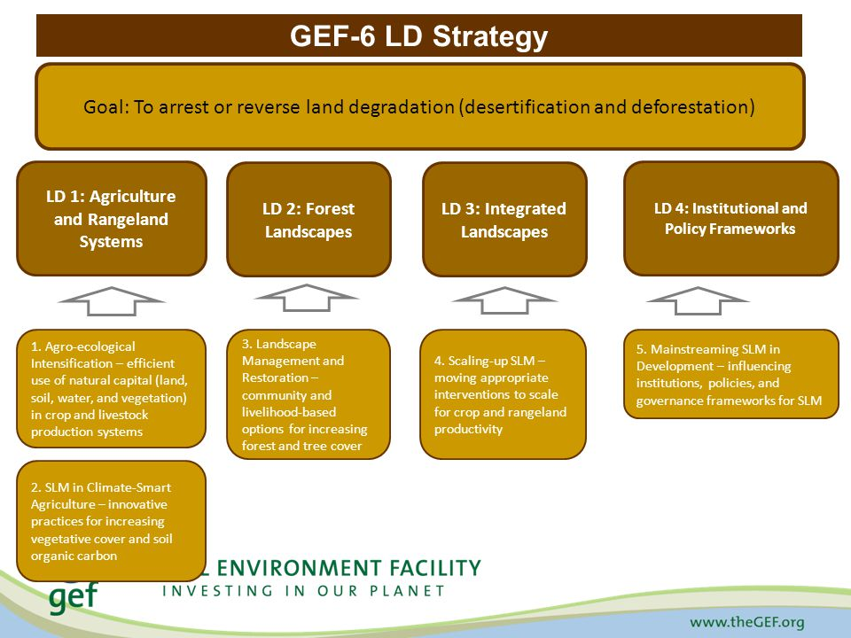 GEF-6 LD Strategy Goal: To arrest or reverse land degradation (desertification and deforestation) LD 1: Agriculture and Rangeland Systems LD 2: Forest Landscapes LD 4: Institutional and Policy Frameworks 1.