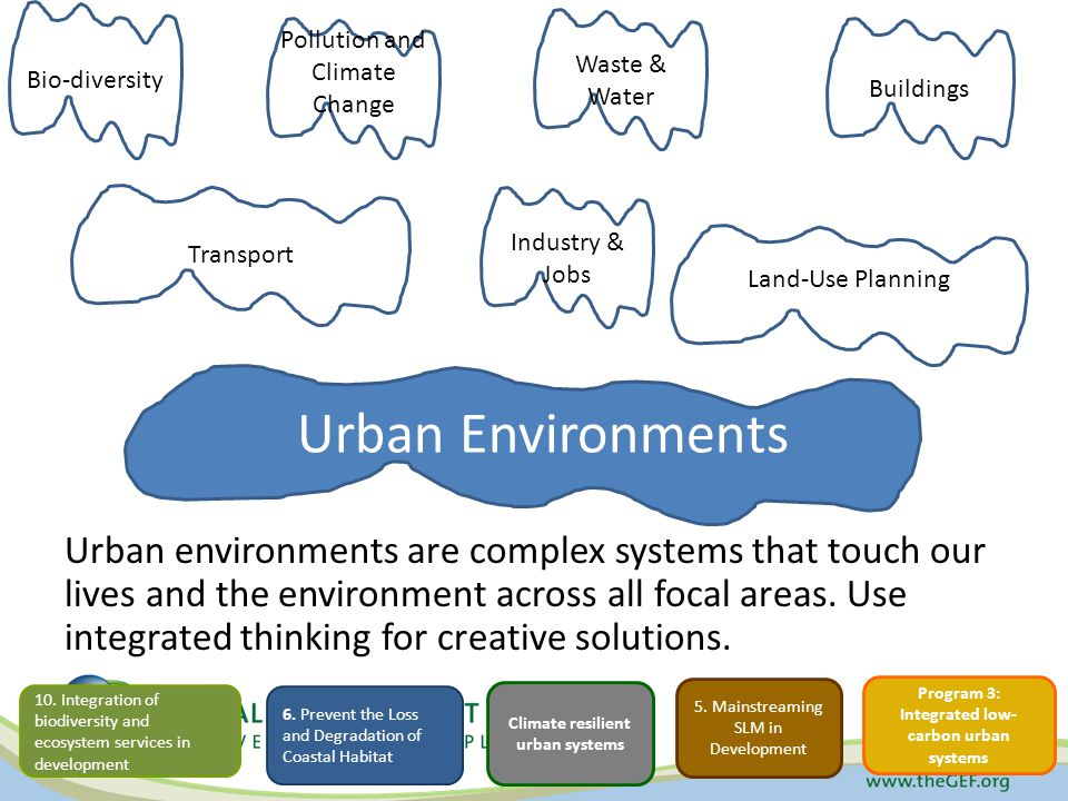 Urban Environments Urban environments are complex systems that touch our lives and the environment across all focal areas.