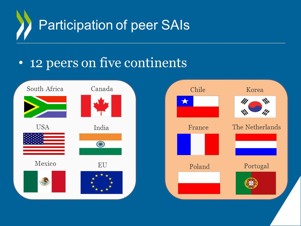 12 peers on five continents EU Chile Portugal Korea France Poland The Netherlands CanadaSouth Africa USA India Mexico Participation of peer SAIs
