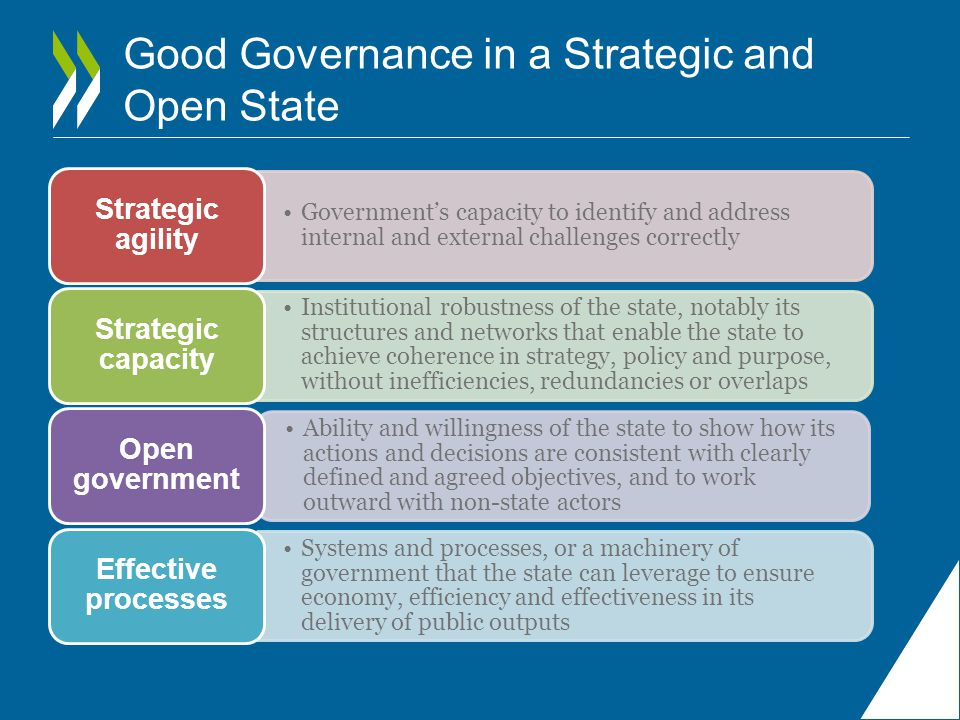 Good Governance in a Strategic and Open State Government's capacity to identify and address internal and external challenges correctly Strategic agility Institutional robustness of the state, notably its structures and networks that enable the state to achieve coherence in strategy, policy and purpose, without inefficiencies, redundancies or overlaps Strategic capacity Ability and willingness of the state to show how its actions and decisions are consistent with clearly defined and agreed objectives, and to work outward with non-state actors Open government Systems and processes, or a machinery of government that the state can leverage to ensure economy, efficiency and effectiveness in its delivery of public outputs Effective processes