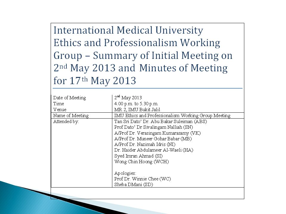 ETHICS AND PROFESSIONALISM Teaching & Learning at the IMU