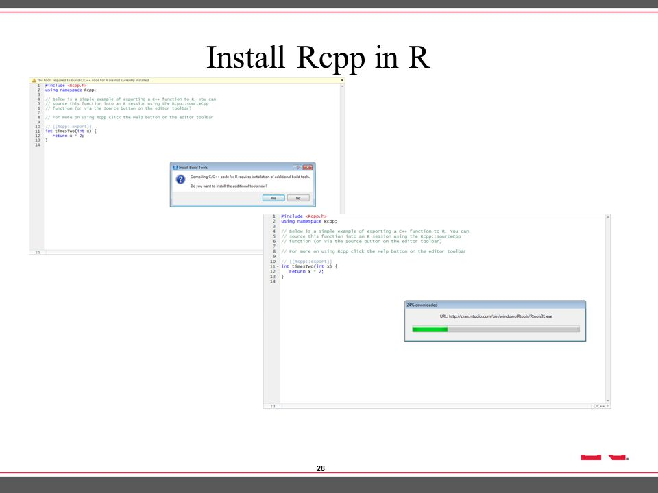 """C++ and Rcpp """"Rcpp"""": How to use C++ with R Jiaqi Xu Department of"""
