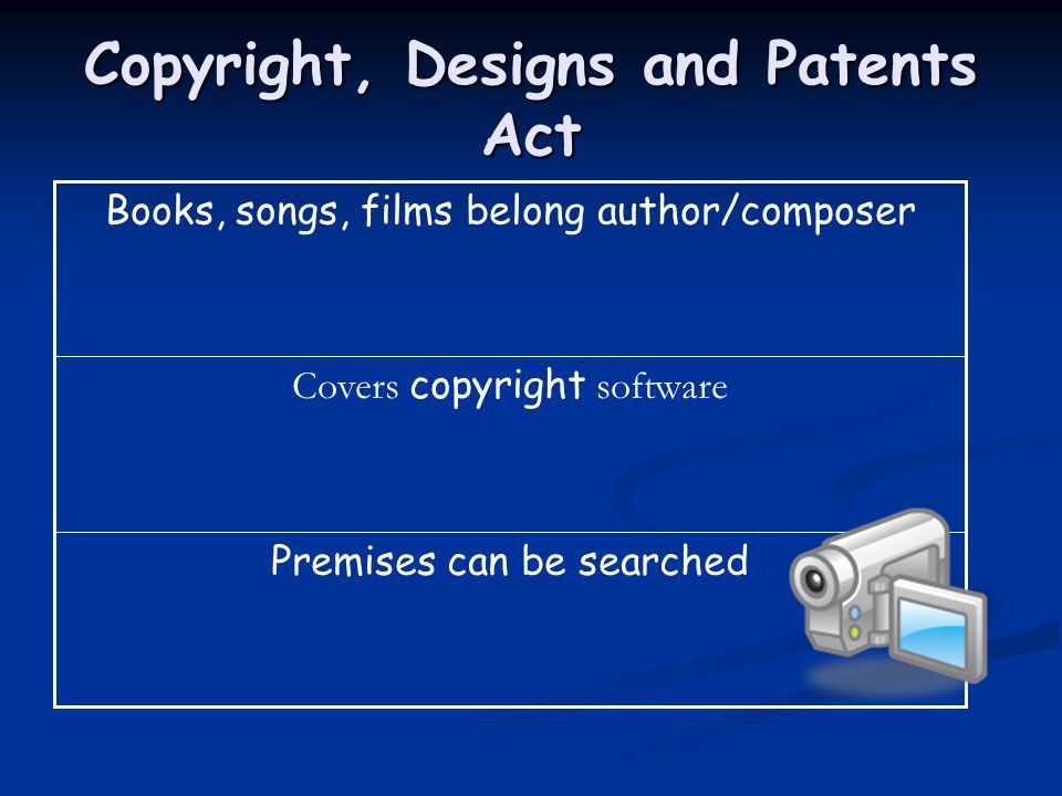Copyright, Designs and Patents Act Premises can be searched Covers copyright software Books, songs, films belong author/composer