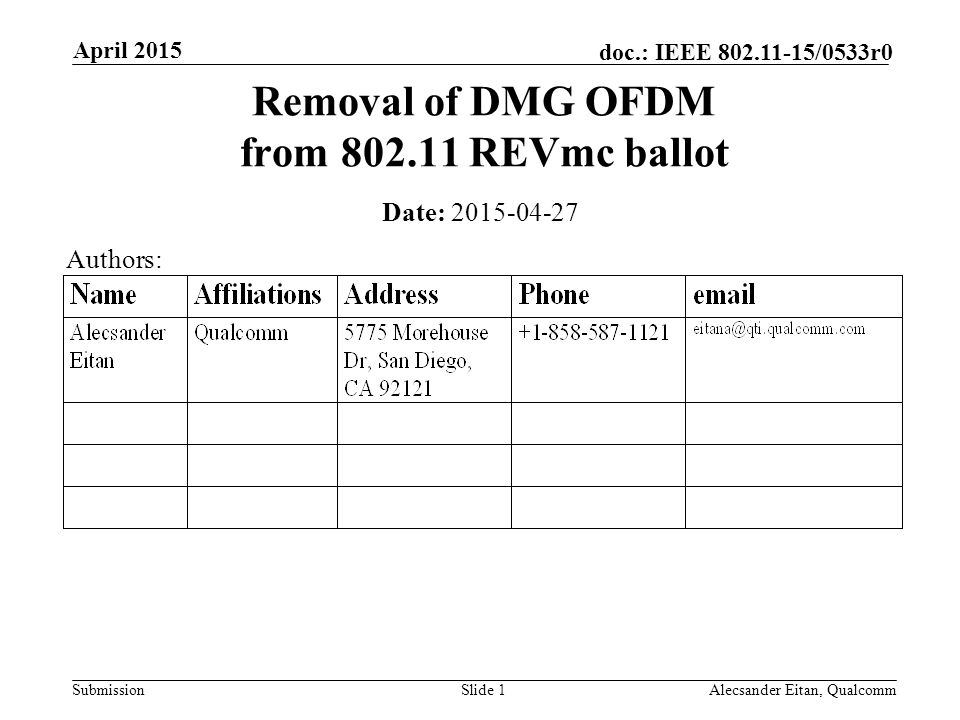 Submission doc.: IEEE /0533r0 April 2015 Alecsander Eitan, QualcommSlide 1 Removal of DMG OFDM from REVmc ballot Date: Authors: