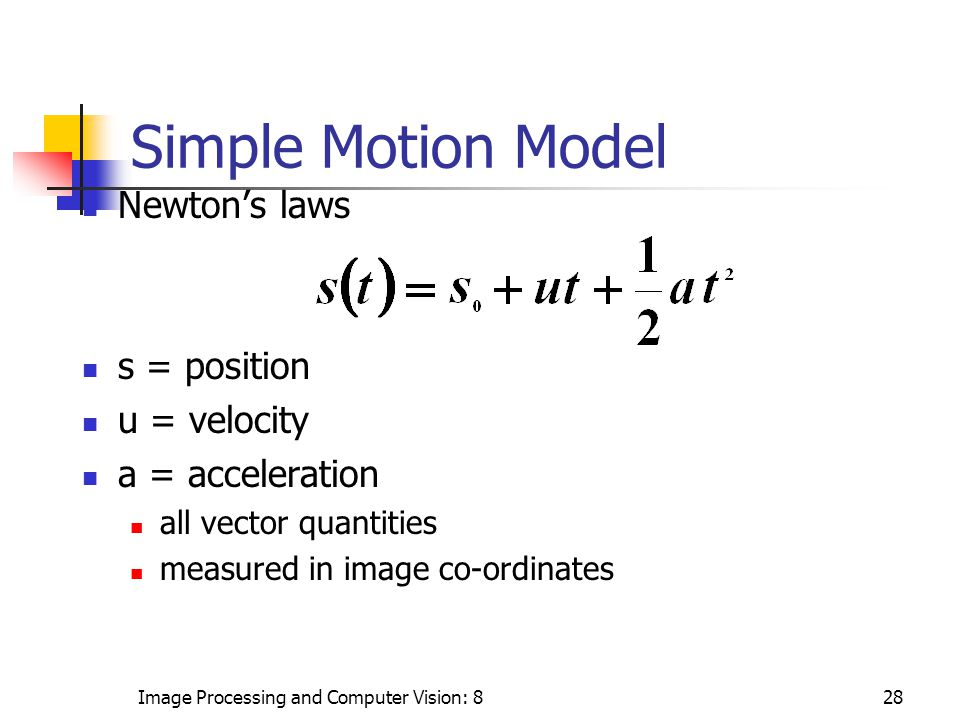 Image Processing and Computer Vision: 828 Newton's laws s = position u = velocity a = acceleration all vector quantities measured in image co-ordinates Simple Motion Model