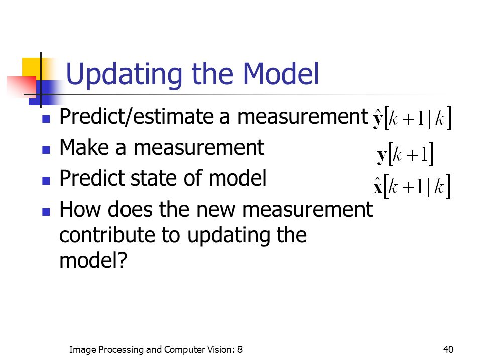 Image Processing and Computer Vision: 840 Updating the Model Predict/estimate a measurement Make a measurement Predict state of model How does the new measurement contribute to updating the model