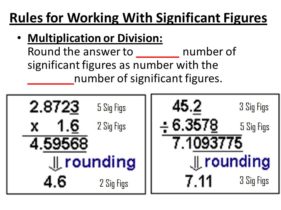 Multiplication or Division: Round the answer to _______ number of significant figures as number with the _______ number of significant figures.