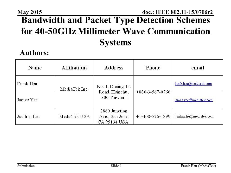 doc.: IEEE /0706r2 Submission Bandwidth and Packet Type Detection Schemes for 40-50GHz Millimeter Wave Communication Systems Authors: May 2015 Slide 1Frank Hsu (MediaTek)