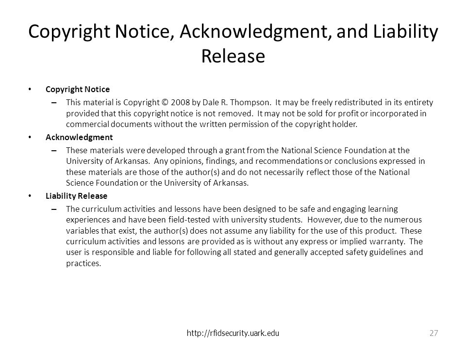 Copyright Notice, Acknowledgment, and Liability Release Copyright Notice – This material is Copyright © 2008 by Dale R.