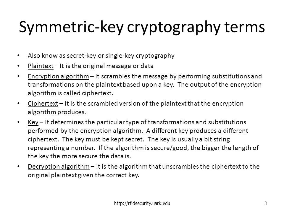 Symmetric-key cryptography terms Also know as secret-key or single-key cryptography Plaintext – It is the original message or data Encryption algorithm – It scrambles the message by performing substitutions and transformations on the plaintext based upon a key.
