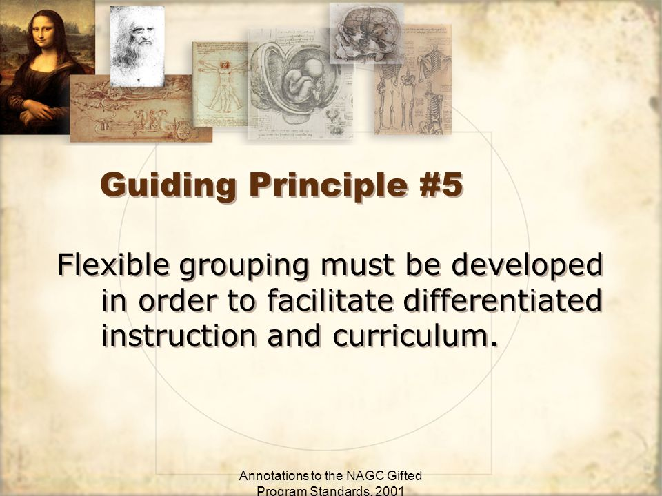 Annotations to the NAGC Gifted Program Standards, 2001 Guiding Principle #5 Flexible grouping must be developed in order to facilitate differentiated instruction and curriculum.
