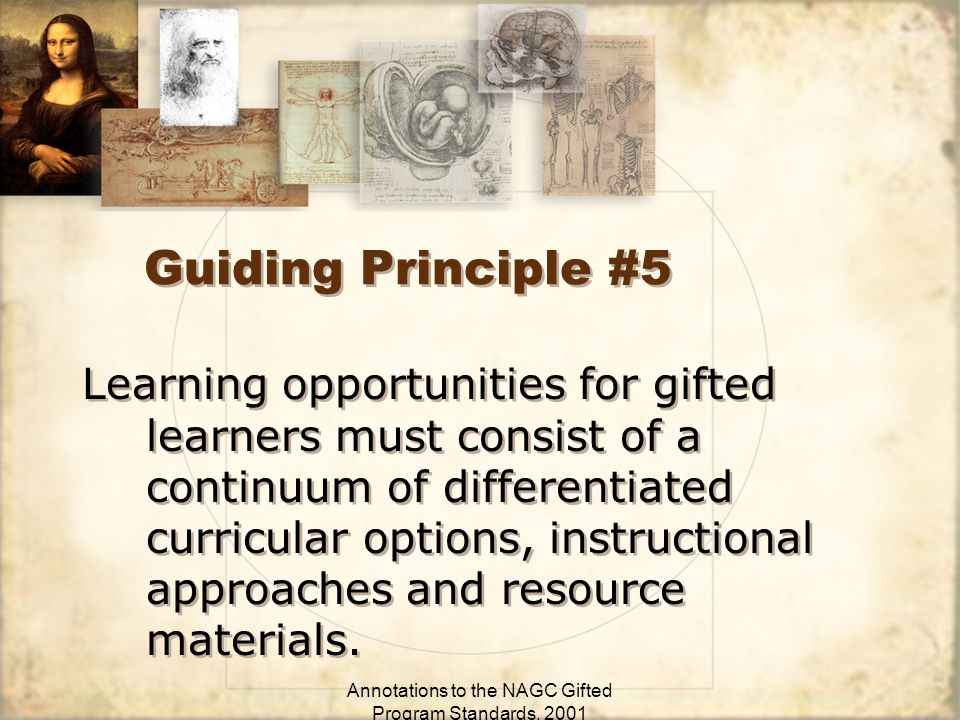 Annotations to the NAGC Gifted Program Standards, 2001 Guiding Principle #5 Learning opportunities for gifted learners must consist of a continuum of differentiated curricular options, instructional approaches and resource materials.