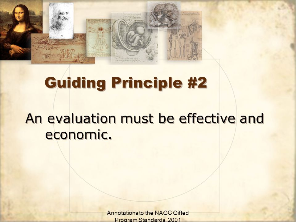 Annotations to the NAGC Gifted Program Standards, 2001 Guiding Principle #2 An evaluation must be effective and economic.