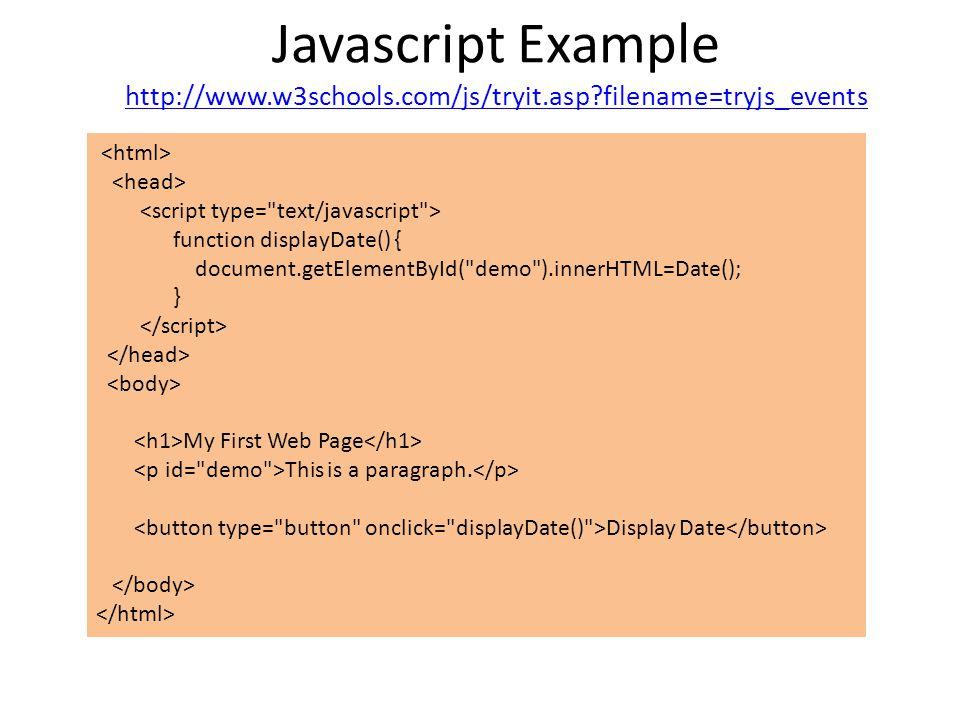Javascript and AJAX Willem Visser RW334  Overview Javascript