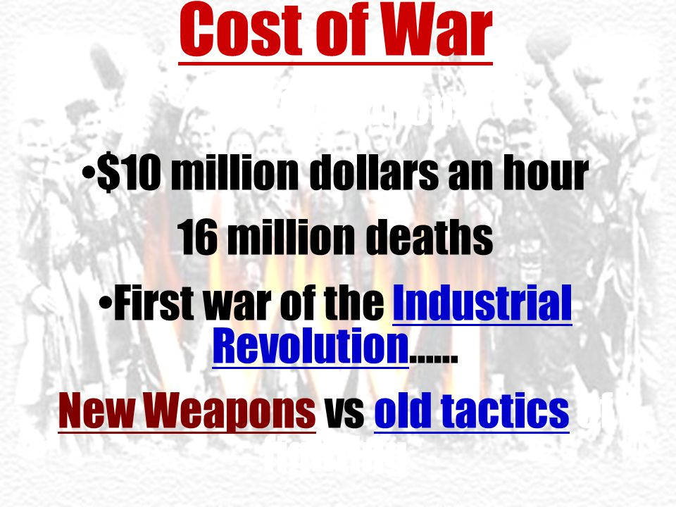 Cost of War $400 billion $10 million dollars an hour 16 million deaths First war of the Industrial Revolution…… New Weapons vs old tactics of fighting