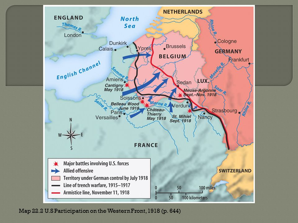 Map 22.2 U.S Participation on the Western Front, 1918 (p. 644)