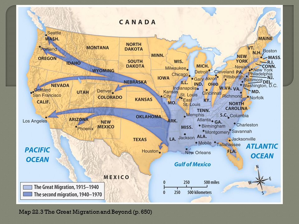 Map 22.3 The Great Migration and Beyond (p. 650)