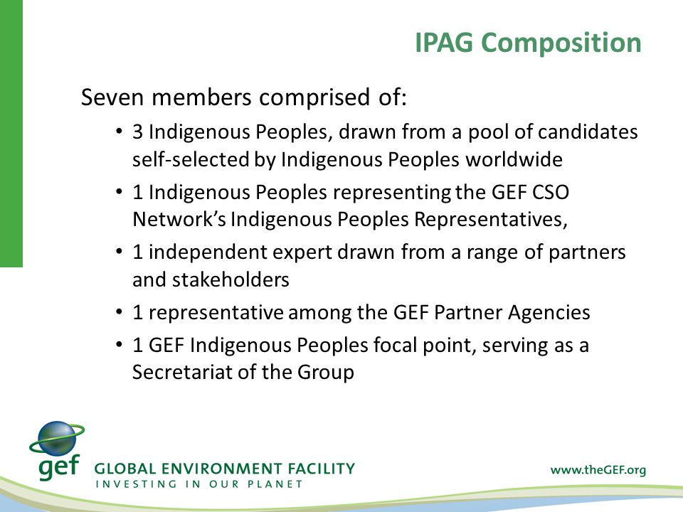 Seven members comprised of: 3 Indigenous Peoples, drawn from a pool of candidates self-selected by Indigenous Peoples worldwide 1 Indigenous Peoples representing the GEF CSO Network's Indigenous Peoples Representatives, 1 independent expert drawn from a range of partners and stakeholders 1 representative among the GEF Partner Agencies 1 GEF Indigenous Peoples focal point, serving as a Secretariat of the Group IPAG Composition