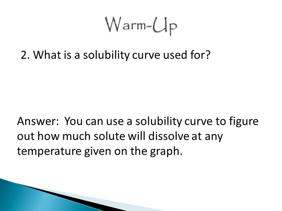 2. What is a solubility curve used for.