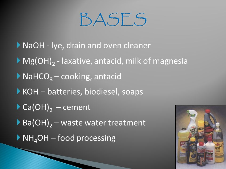  NaOH - lye, drain and oven cleaner  Mg(OH) 2 - laxative, antacid, milk of magnesia  NaHCO 3 – cooking, antacid  KOH – batteries, biodiesel, soaps  Ca(OH) 2 – cement  Ba(OH) 2 – waste water treatment  NH 4 OH – food processing