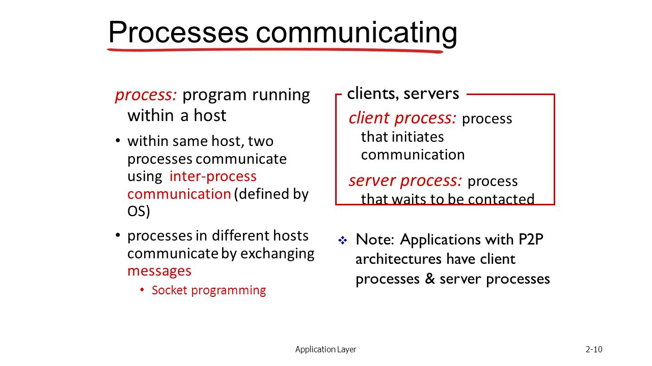Application Layer2-10 Processes communicating process: program running within a host within same host, two processes communicate using inter-process communication (defined by OS) processes in different hosts communicate by exchanging messages Socket programming client process: process that initiates communication server process: process that waits to be contacted  Note: Applications with P2P architectures have client processes & server processes clients, servers