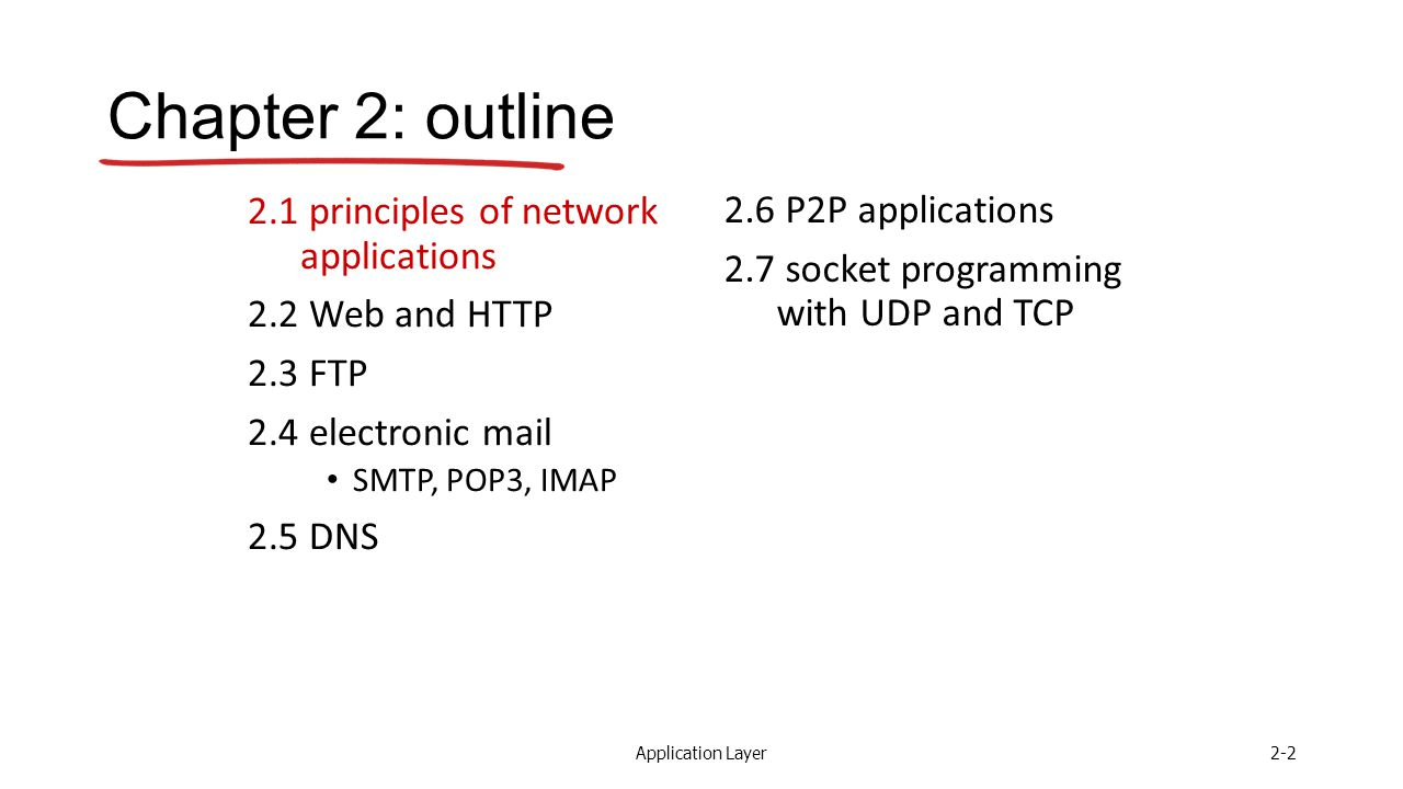 Application Layer2-2 Chapter 2: outline 2.1 principles of network applications 2.2 Web and HTTP 2.3 FTP 2.4 electronic mail SMTP, POP3, IMAP 2.5 DNS 2.6 P2P applications 2.7 socket programming with UDP and TCP