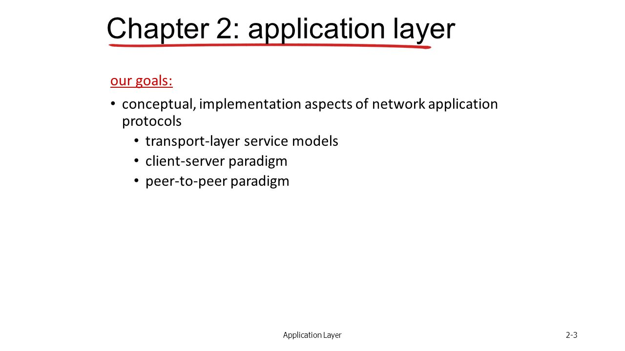 Application Layer2-3 Chapter 2: application layer our goals: conceptual, implementation aspects of network application protocols transport-layer service models client-server paradigm peer-to-peer paradigm