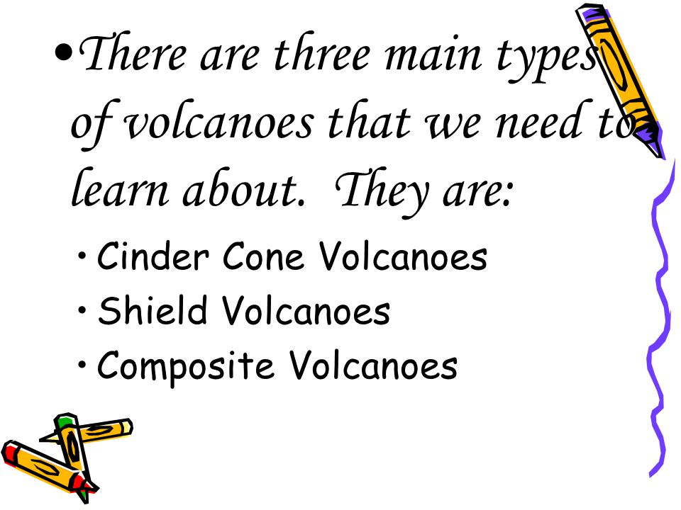 Volcanoes are classified by: Their shape The way they erupt The materials from which they are formed