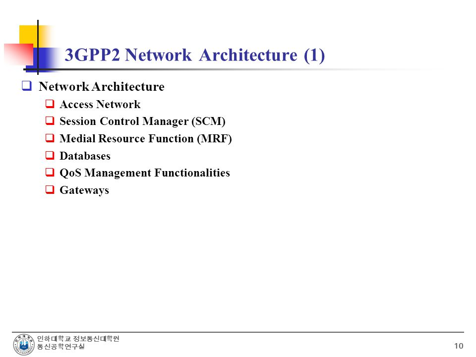 인하대학교 정보통신대학원 통신공학연구실 10 3GPP2 Network Architecture (1)  Network Architecture  Access Network  Session Control Manager (SCM)  Medial Resource Function (MRF)  Databases  QoS Management Functionalities  Gateways