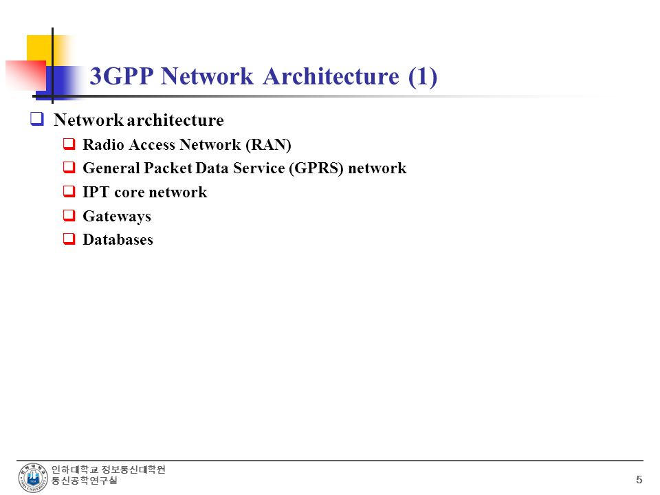 인하대학교 정보통신대학원 통신공학연구실 5 3GPP Network Architecture (1)  Network architecture  Radio Access Network (RAN)  General Packet Data Service (GPRS) network  IPT core network  Gateways  Databases