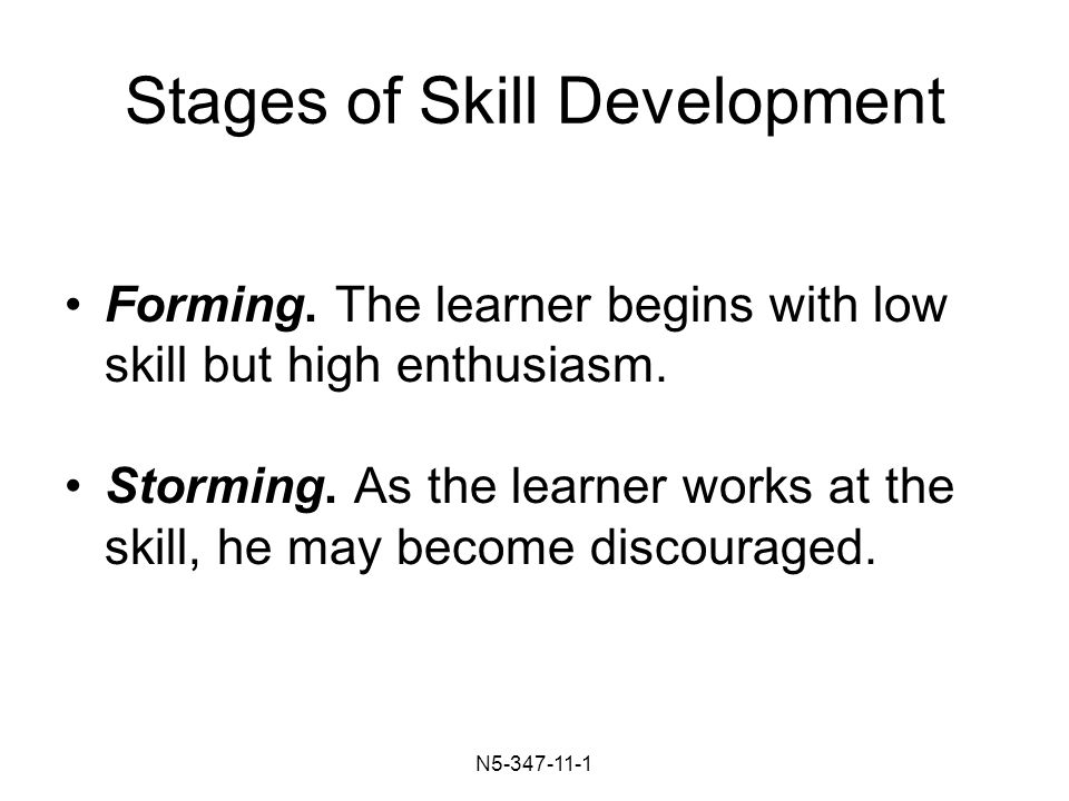N Stages of Skill Development Forming.