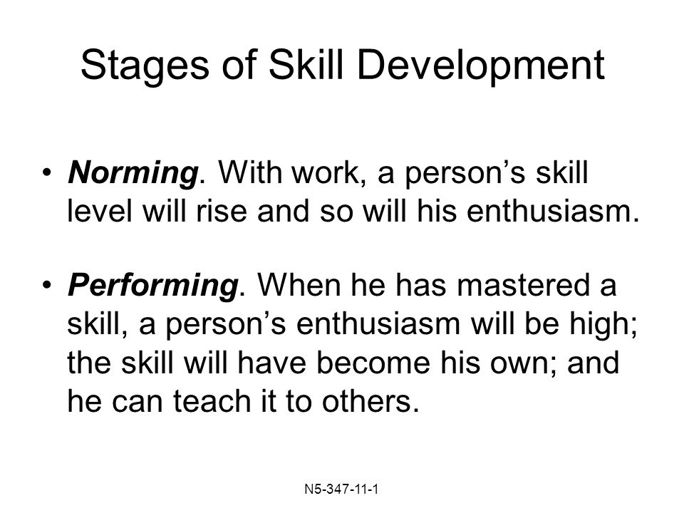 N Stages of Skill Development Norming.