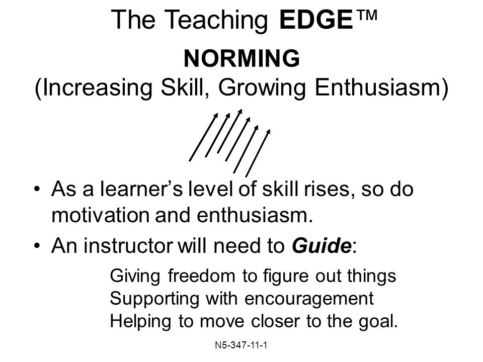 N NORMING (Increasing Skill, Growing Enthusiasm) As a learner's level of skill rises, so do motivation and enthusiasm.