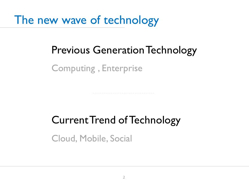 The new wave of technology 2 Previous Generation Technology Current Trend of Technology Computing, Enterprise Cloud, Mobile, Social